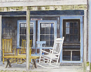 Rocking Chairs Originals - Rockport Porch by Carol Flagg