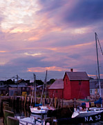 Motif 1 Posters - Rockport sunset over Motif #1 Poster by Jeff Folger