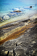 Great Lakes Photos - Rocks and clear water abstract by Elena Elisseeva
