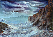 Stormy Weather Paintings - Rocks and waves by Dimitrios Michelis