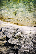 Hard Photo Metal Prints - Rocks at Georgian Bay Metal Print by Elena Elisseeva