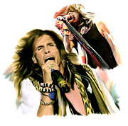 Lead Drawings Posters - Rocks Gothic Lion  STEVEN TYLER Poster by Iconic Images Art Gallery David Pucciarelli
