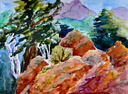 Beverley Harper Tinsley Painting Prints - Rocks Near Red Feather Print by Beverley Harper Tinsley