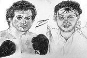Sylvester Stallone Drawings - Rocky and The Karate Kid by Corey Hopper