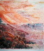 Printmaking Mixed Media - Rocky Cliffs At Sunset by J L Carothers