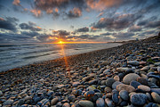 Feature Prints - Rocky Coast Sunset Print by Peter Tellone
