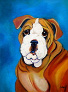 English Bulldog Paintings - Rocky by Debi Pople