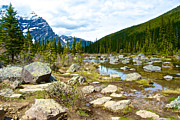 Consolation Digital Art Metal Prints - Rocky End of Consolation Lake in Banff NP-AB   Metal Print by Ruth Hager