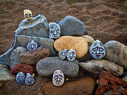 Canary Islands Metal Prints - Rocky Faces in the Sand Metal Print by David Smith