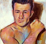 Boxer Portrait Paintings - Rocky Graziano  by Robert Phelps