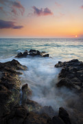 Hawaii Sunset Posters - Rocky Inlet Sunset Poster by Mike  Dawson