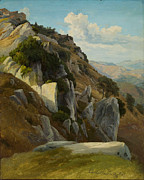 Famous Artists - Rocky landscape at Civitella del Tronto by Johann Hermann Carmiencke