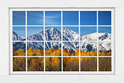 Picture Window Frame Photos Art - Rocky Mountain Autumn High White Picture Window by James Bo Insogna