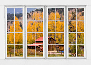 Picture Window Frame Photos Art - Rocky Mountain Autumn Ranch White Window View by James Bo Insogna