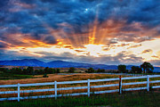 Sunset Photography Prints Framed Prints - Rocky Mountain Country Beams Of Sunlight Framed Print by James Bo Insogna