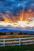 Sunset Photography Prints Framed Prints - Rocky Mountain Country Beams Of Sunlight Portrait Framed Print by James Bo Insogna