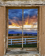 Rustic Framed Prints - Rocky Mountain Country Beams Of Sunlight Rustic Window Frame Framed Print by James Bo Insogna