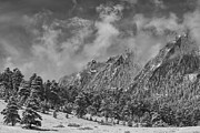 Rocky Mountain Dusting Of Snow Boulder Colorado Bw Print by James BO  Insogna