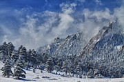 Flatirons Posters - Rocky Mountain Dusting Of Snow Boulder Colorado Poster by James Bo Insogna