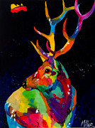 Contemporary Western Prints - Rocky Mountain Elk Print by Tracy Miller