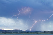 Unusual Lightning Posters - Rocky Mountain Front Range Foothills Lightning Strikes Poster by James Bo Insogna