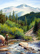 Fly Fisherman Paintings - Rocky Mountain High by Mary Giacomini