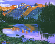 Fir Trees Painting Prints - Rocky Mountain Lake Print by David Lloyd Glover