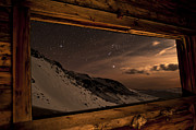 Cabin Window Framed Prints - Rocky Mountain Nightscape Picture Window Framed Print by Mike Berenson