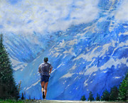 Marathon Painting Originals - Rocky Mountain Run by Edward Pollick