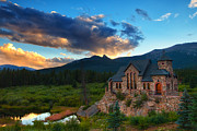 Churches Prints - Rocky Mountain Stone Church Print by Darren  White