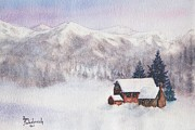 Sokolovich Painting Prints - Rocky Mountain Winter Print by Ann Sokolovich