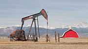 Red Barn Prints Posters - Rocky Mountains Oil Well and Red Barn Panorama Poster by James Bo Insogna