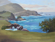 Azur Painting Prints - Rocky Point Big Sur Print by Karin  Leonard