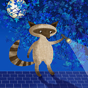 Nature Scene Mixed Media Prints - Rocky Raccoon  Print by Valerie  Drake Lesiak