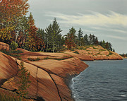 Portage Painting Prints - Rocky River Shore Print by Kenneth M  Kirsch
