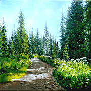 Gravel Road Paintings - Rocky Road by Linda Hunt