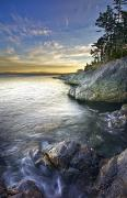 Juan De Fuca Framed Prints - Rocky Shore At Sunset, Juan De Fuca Framed Print by Snorri Gunnarsson