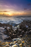 Clouds Photos - Rocky Shore by Debra and Dave Vanderlaan