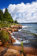 Windy Photos - Rocky shore in Georgian Bay by Elena Elisseeva