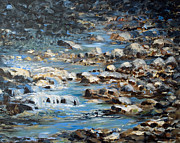Rushing Water Paintings - Rocky Shore by Joanne Smoley