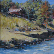 Maine Shore Painting Originals - Rocky Shore Maine by Rebecca Justice-Schaab