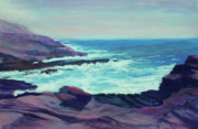Sea Shore Pastels Prints - Rocky Shore Print by Marion Derrett