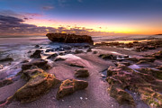 Sunset Scenes. Posters - Rocky Shoreline Poster by Debra and Dave Vanderlaan