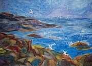 Maine Paintings - Rocky Shores of Maine by Ellen Levinson