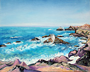 Rocky Shoreline Paintings - Rocky Sonoma Shore and Crashing Waves by Asha Carolyn Young