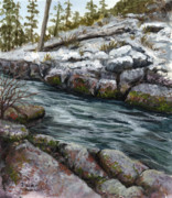 Rushing Water Paintings - Rocky Stream by Darice Machel McGuire