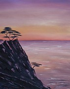 Santa Barbara Paintings - Rocky Sunset by Barbara St Jean