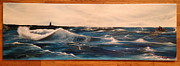 Sun Rays Painting Framed Prints - Rocky Waters Framed Print by Theresa Ranaghan