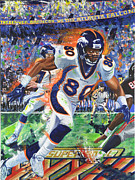 Denver Broncos Paintings - Rod Smith by Lawrence Childress
