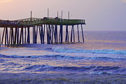Greeting Cards Prints - Rodanthe Pier Enhanced Print by Cathy Lindsey